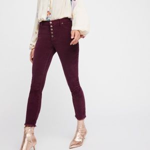 Free People Button Fly Raw Hem Cords, Size 29